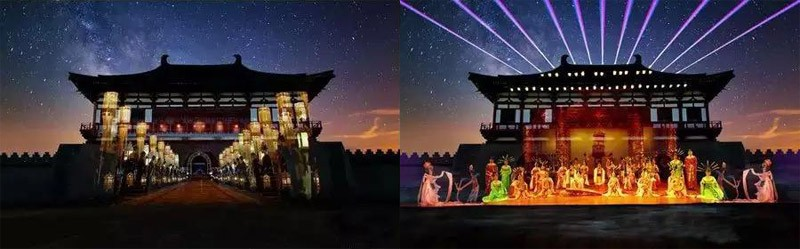 3D Light Show in front of Ancient Building Relics