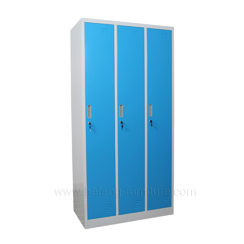 3 door staff lockers · 3 door steel storage lockers ...  sc 1 st  Luoyang Hefeng Furniture & 3 Door Steel Clothing Lockers - Luoyang Hefeng Furniture