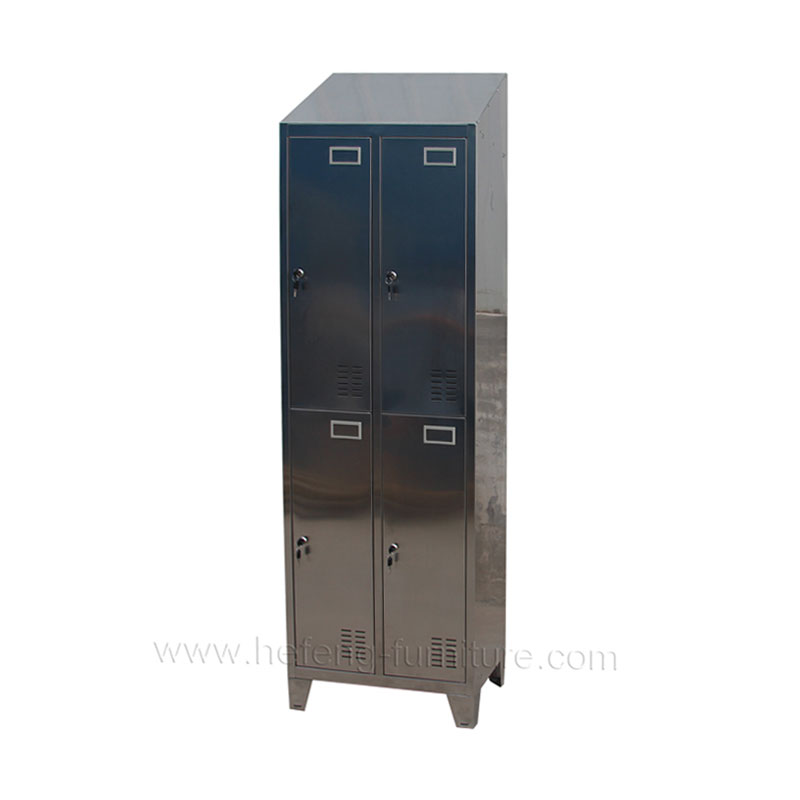 Four door stainless steel lockers